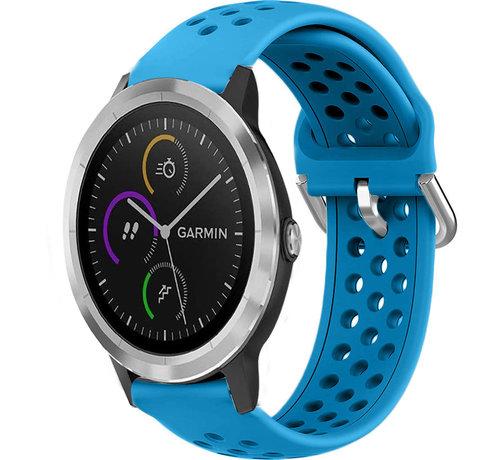 Strap-it® Strap-it® Garmin Vivoactive 3 siliconen bandje met gaatjes (lichtblauw)