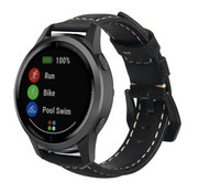 Strap-it® Garmin Vivoactive 4 leren band - 45mm - zwart