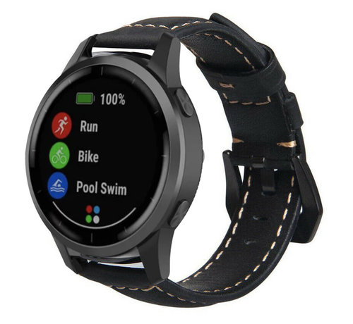 Strap-it® Strap-it® Garmin Vivoactive 4 leren band - 45mm - zwart