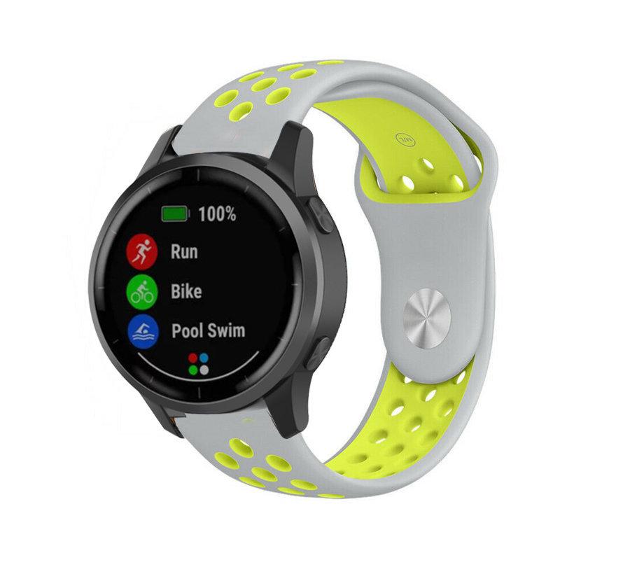 Strap-it® Garmin Vivoactive 4 sport band - 45mm - grijs/geel