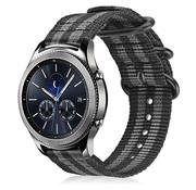 Strap-it® Samsung Gear S3 nylon gesp band (zwart/grijs)