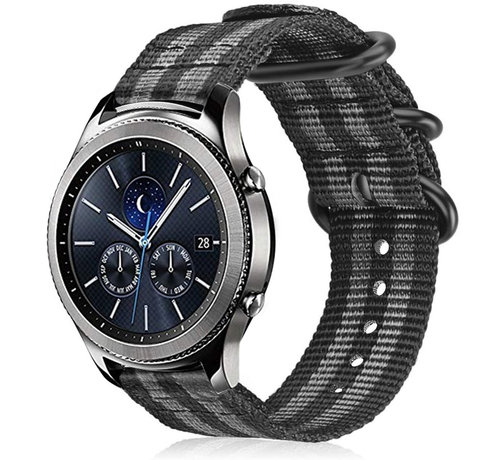 Strap-it® Strap-it® Samsung Gear S3 nylon gesp band (zwart/grijs)