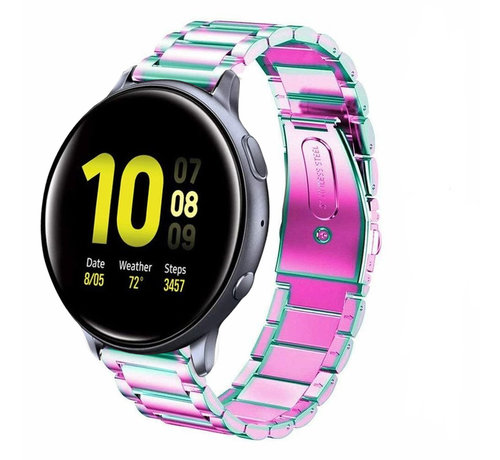 Strap-it® Strap-it® Samsung Galaxy Watch Active stalen band (regenboog)