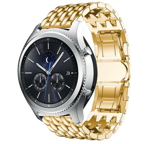 Strap-it® Strap-it® Samsung Gear S3 stalen draak band (goud)