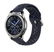 Strap-it® Samsung Gear S3 siliconen bandje met gaatjes (donkerblauw)