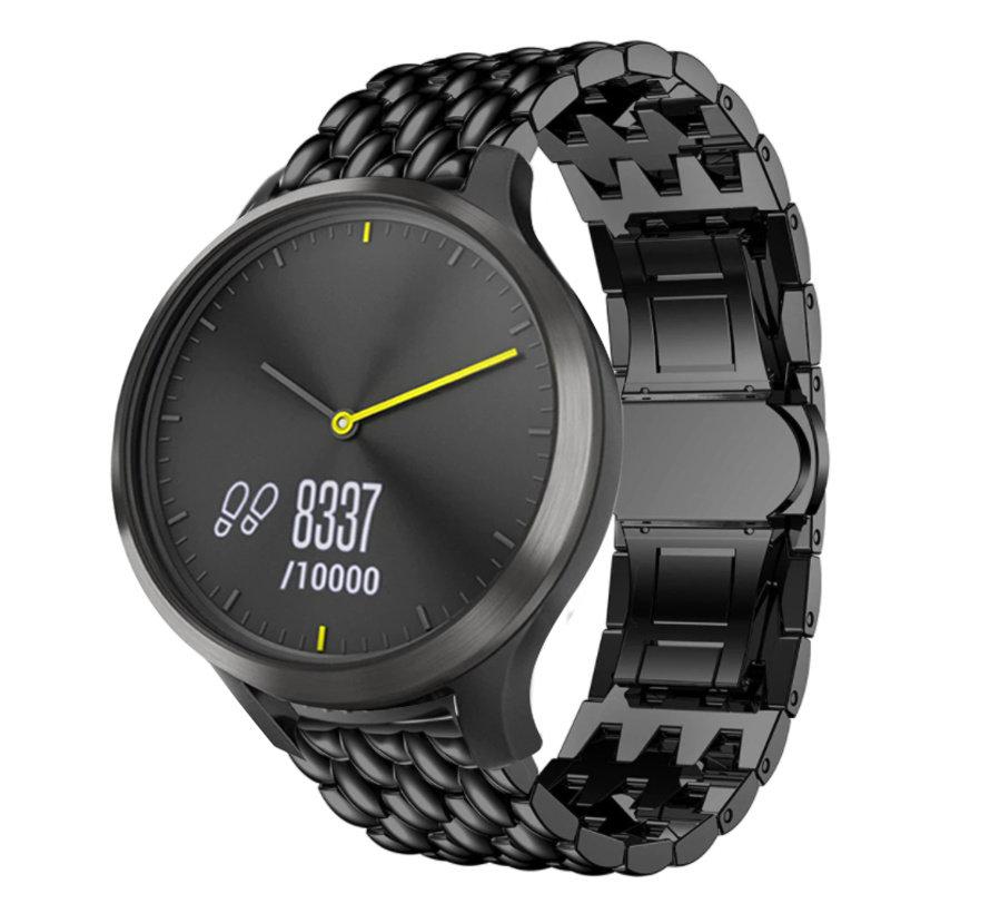Strap-it® Garmin Vivomove HR stalen draak band (zwart)