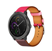 Strap-it® Garmin Vivoactive 4 leren band - 45mm - knalroze/roodbruin