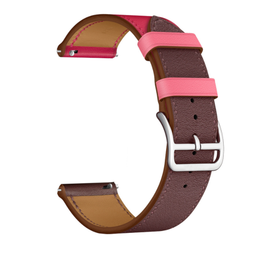 Strap-it® Garmin Vivoactive 4 leren band - 45mm - knalroze/roodbruin