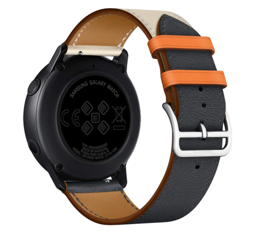 Strap-it® Garmin Vivoactive 4 leren band - 45mm - wit/donkerblauw