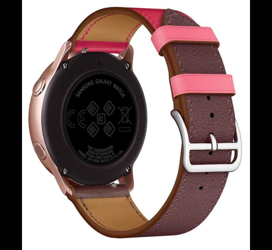 Strap-it® Huawei Watch GT leren bandje (knalroze/roodbruin)