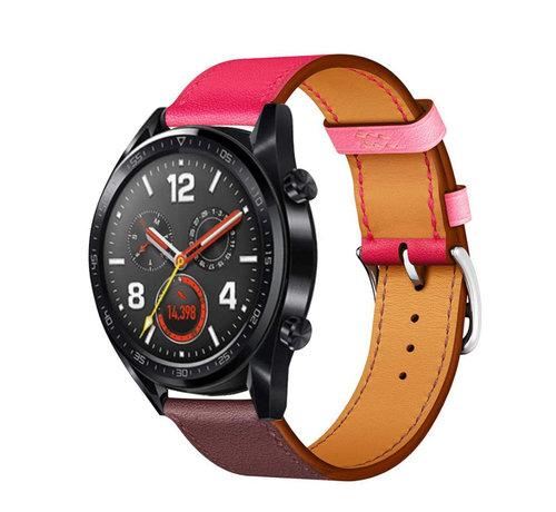 Strap-it® Strap-it® Huawei Watch GT leren bandje (knalroze/roodbruin)