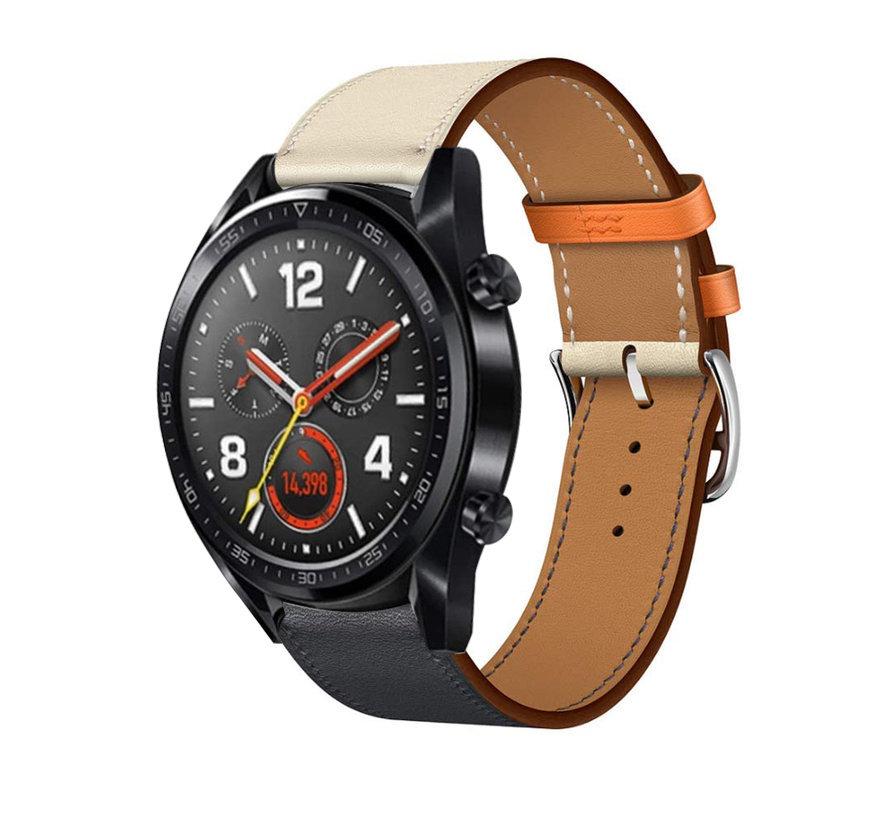 Strap-it® Huawei Watch GT leren bandje (wit/donkerblauw)