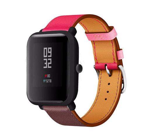 Strap-it® Strap-it® Xiaomi Amazfit Bip leren bandje (knalroze/roodbruin)