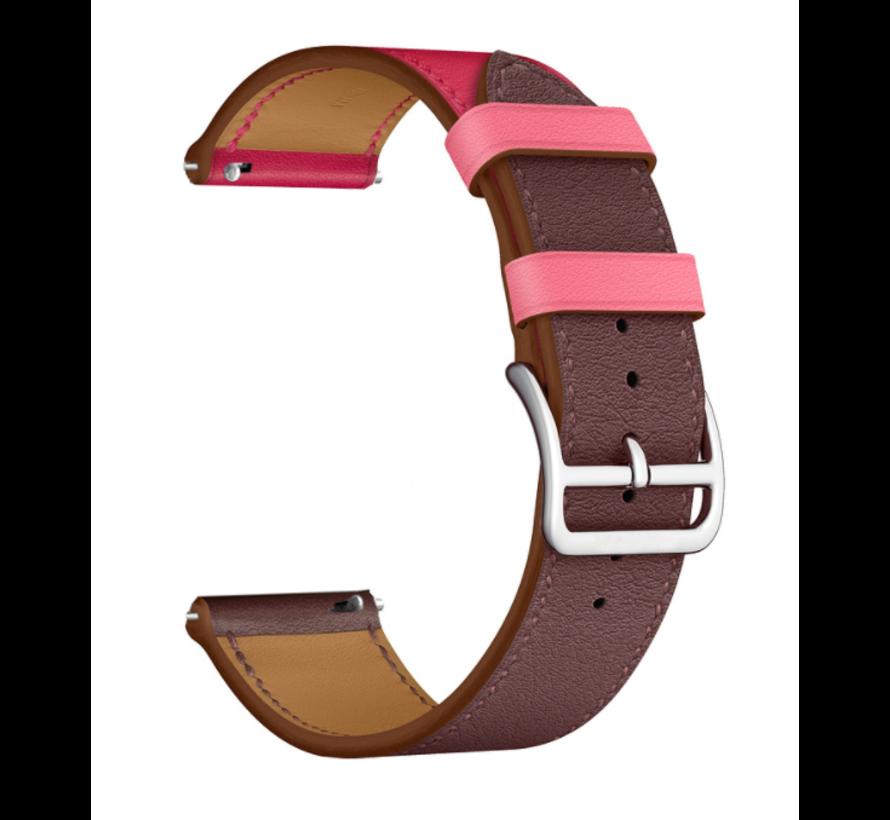 Strap-it® Xiaomi Amazfit Bip leren bandje (knalroze/roodbruin)