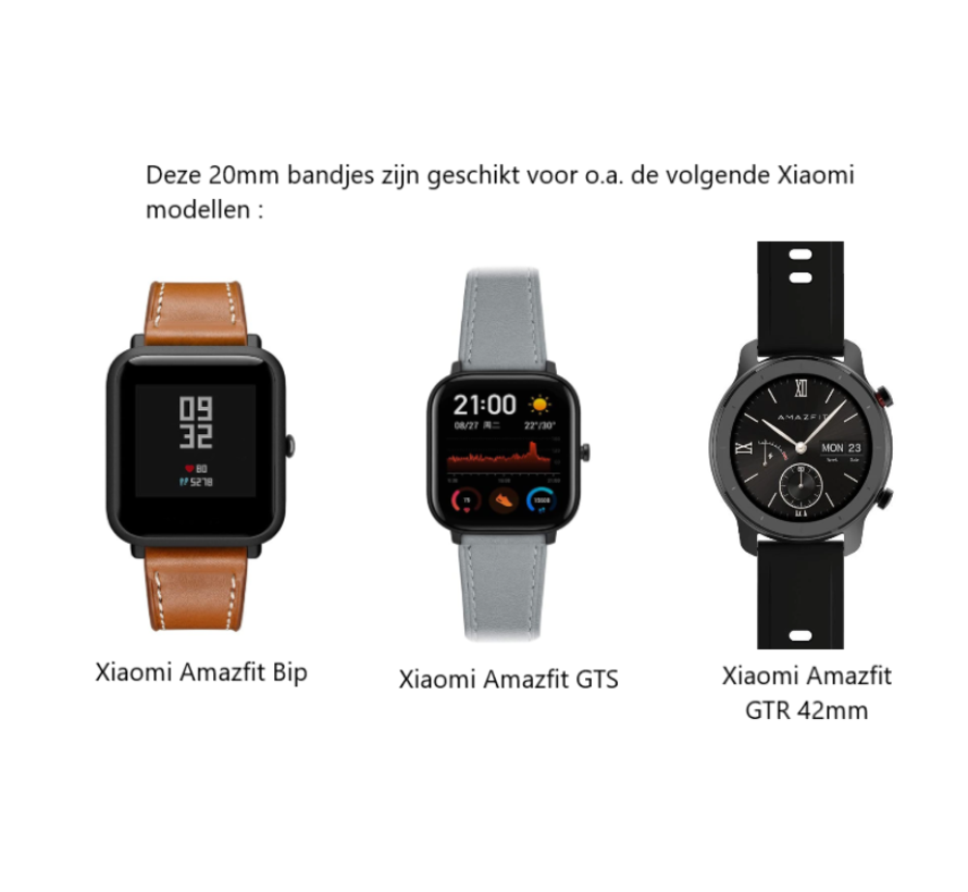 Strap-it® Xiaomi Amazfit Bip leren bandje (wit/donkerblauw)