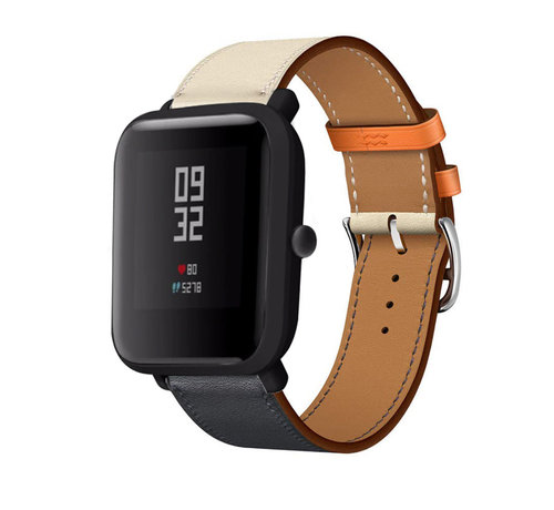 Strap-it® Strap-it® Xiaomi Amazfit Bip leren bandje (wit/donkerblauw)