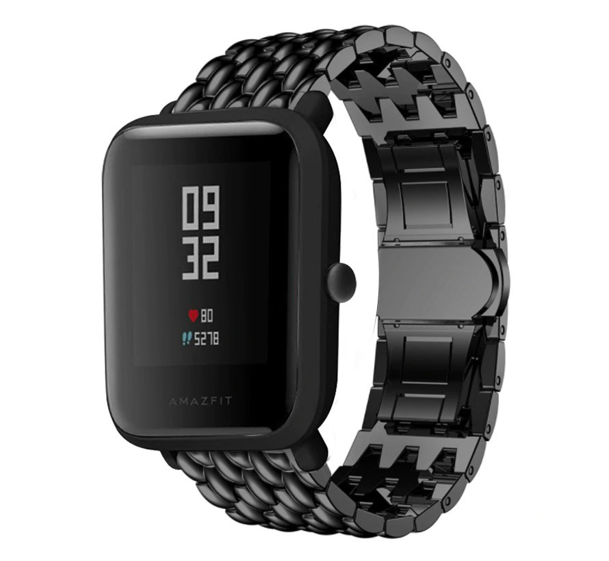 Strap-it® Xiaomi Amazfit Bip stalen draak band (zwart)