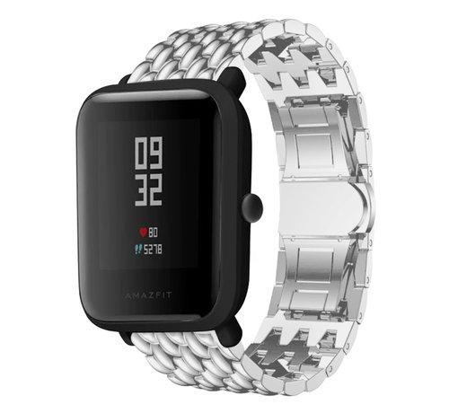 Strap-it® Strap-it® Xiaomi Amazfit Bip stalen draak band (zilver)