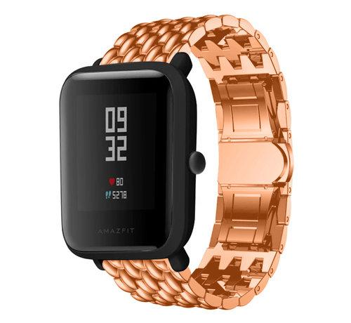 Strap-it® Strap-it® Xiaomi Amazfit Bip stalen draak band (rosé goud)