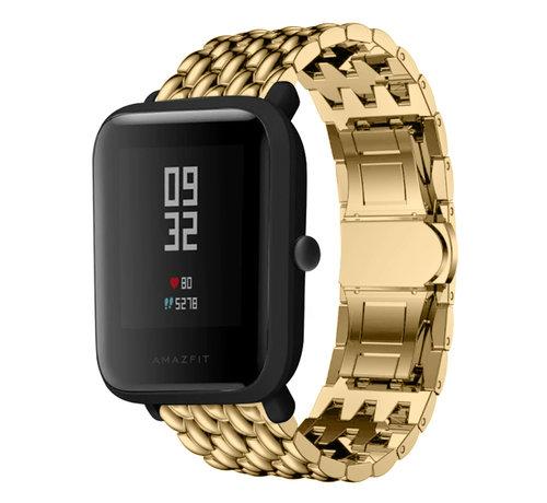 Strap-it® Strap-it® Xiaomi Amazfit Bip stalen draak band (goud)