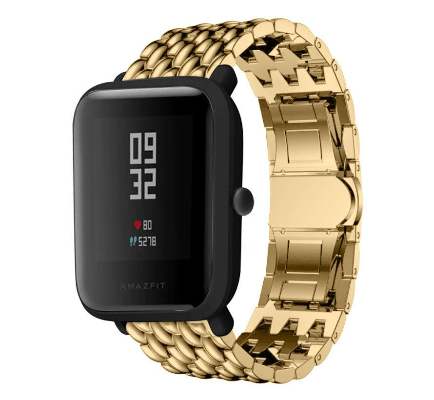 Strap-it® Xiaomi Amazfit Bip stalen draak band (goud)