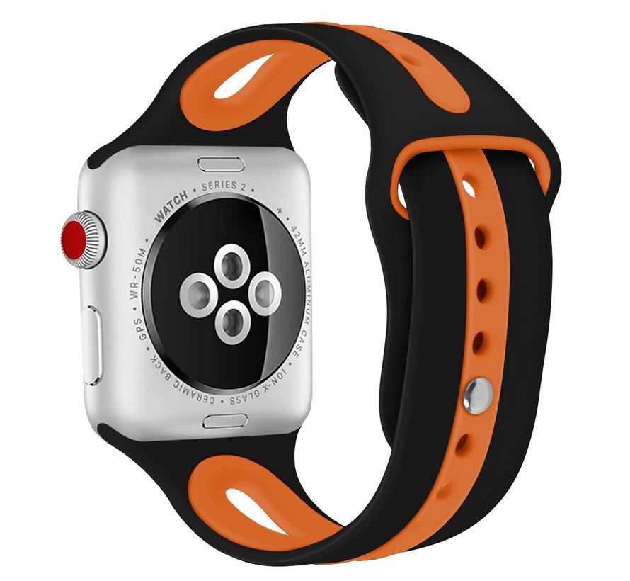 Strap-it® Apple Watch sport duo band (zwart/oranje)