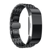 Strap-it® Fitbit Charge 2 stalen draak band (zwart)