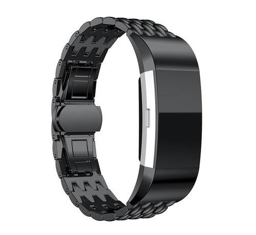 Strap-it® Strap-it® Fitbit Charge 2 stalen draak band (zwart)