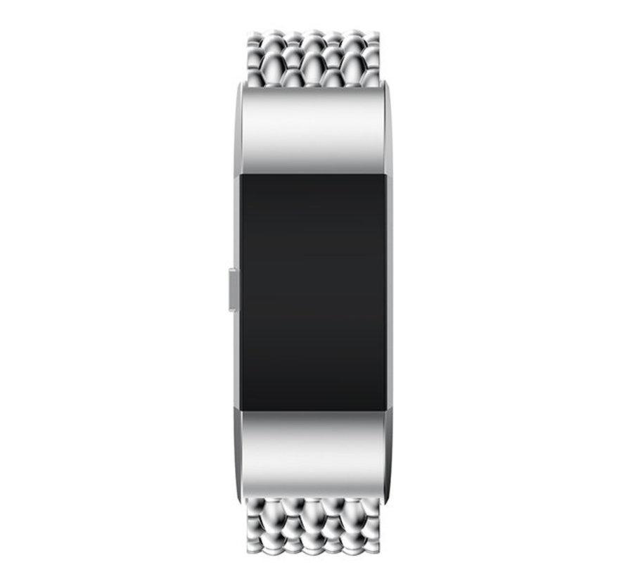 Strap-it® Fitbit Charge 2 stalen draak band (zilver)