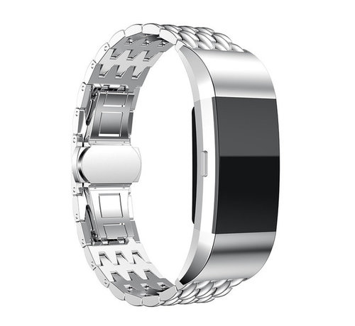 Strap-it® Strap-it® Fitbit Charge 2 stalen draak band (zilver)