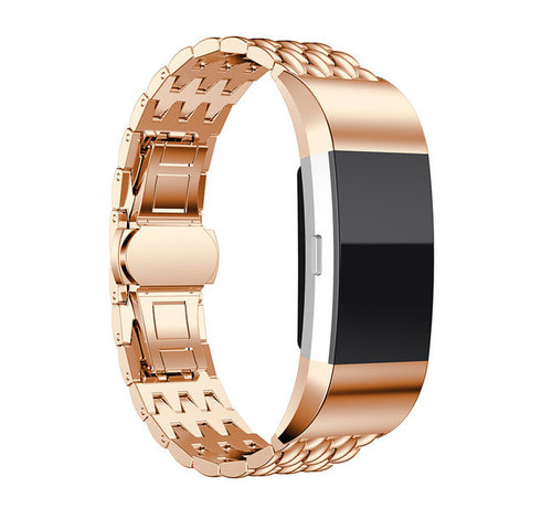 Strap-it® Strap-it® Fitbit Charge 2 stalen draak band (rosé goud)