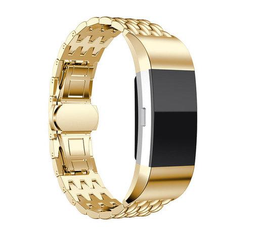 Strap-it® Strap-it® Fitbit Charge 2 stalen draak band (goud)