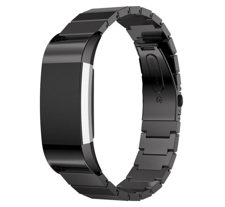 Strap-it® Fitbit Charge 2 metalen bandje (zwart)