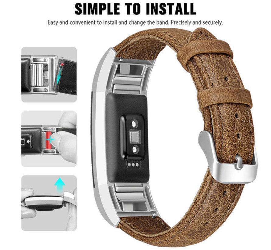 Strap-it® Fitbit Charge 2 leren bandje (bruin)