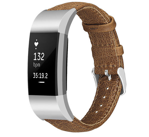 Strap-it® Strap-it® Fitbit Charge 2 leren bandje (bruin)