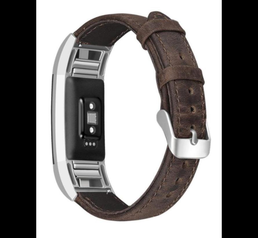 Strap-it® Fitbit Charge 2 leren bandje (donkerbruin)