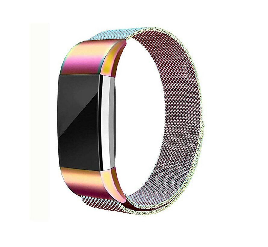 Strap-it® Fitbit Charge 2 Milanese band (regenboog)