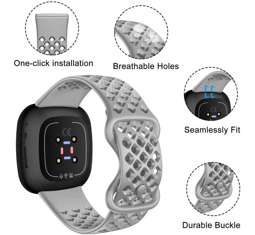Strap-it® Fitbit Sense siliconen bandje met gaatjes (grijs)