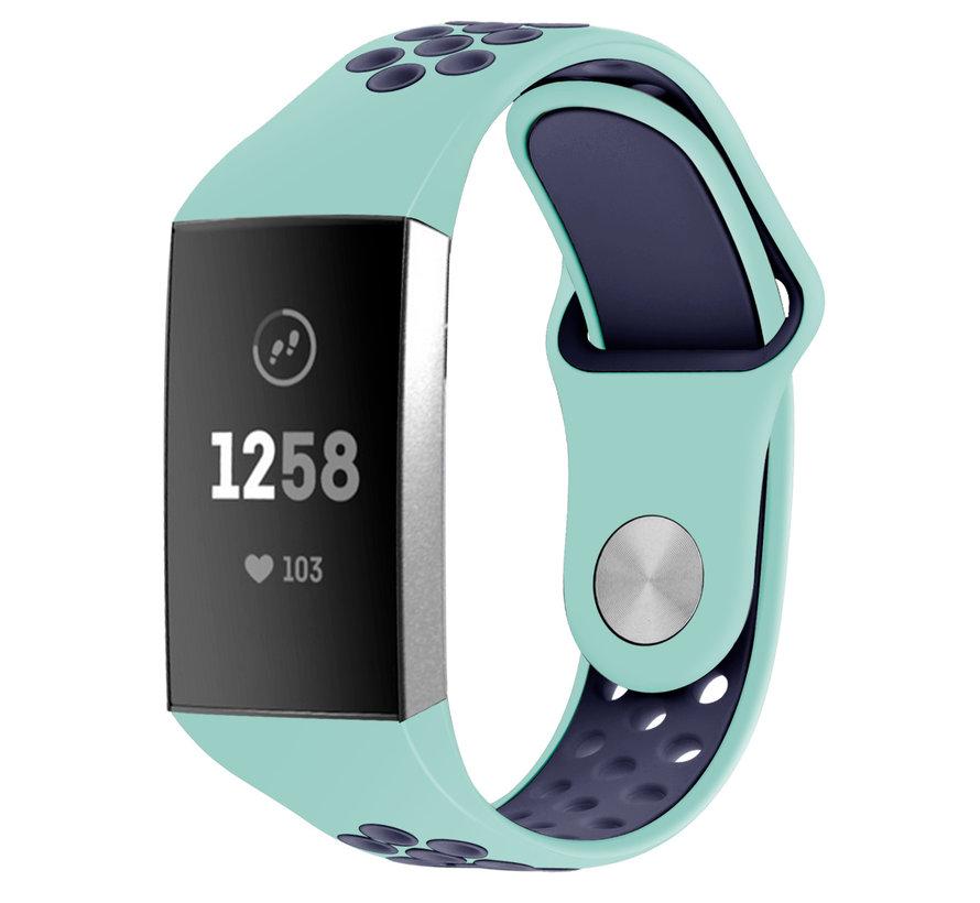 Strap-it® Fitbit Charge 4 sportband (aqua/donkerblauw)