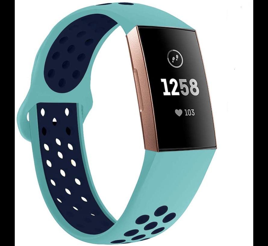 Strap-it® Fitbit Charge 3 sport bandje (aqua/donkerblauw)