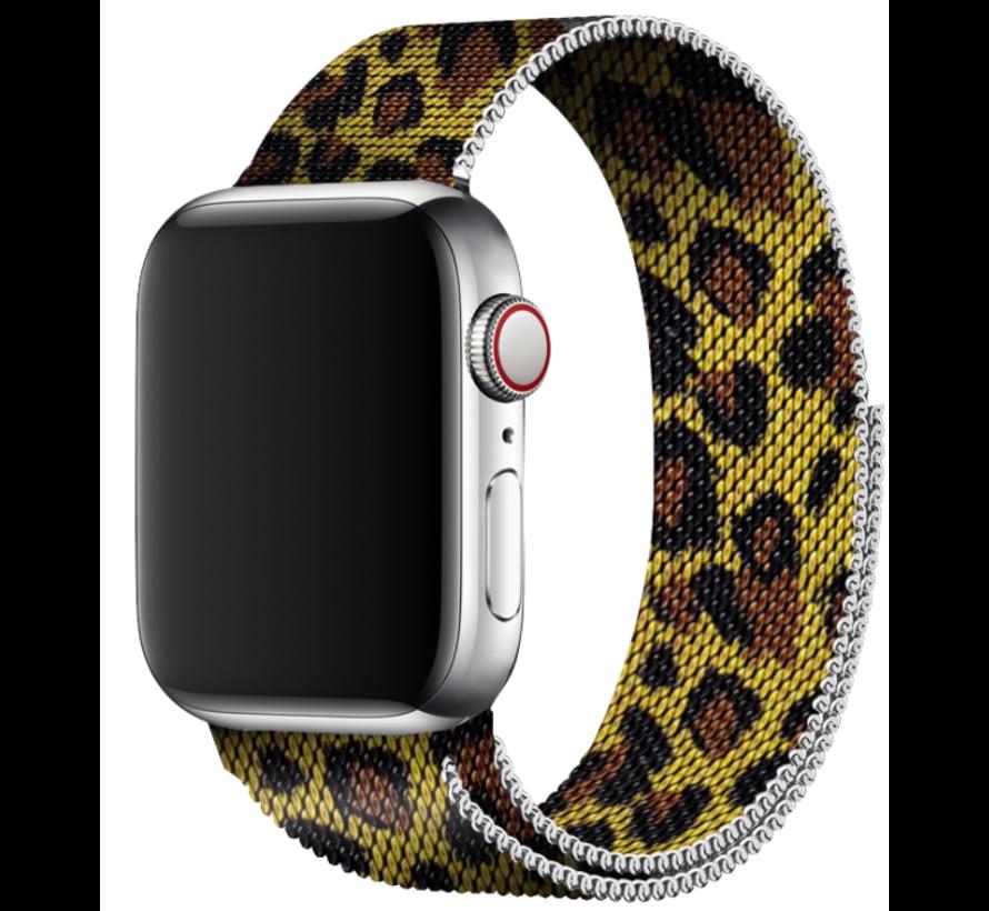 Strap-it® Apple Watch Milanese  band (luipaard print)