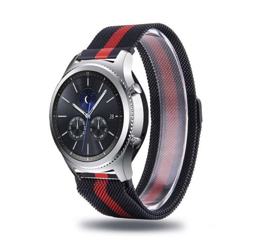 Strap-it® Samsung Gear S3 Milanese band (zwart/rood)