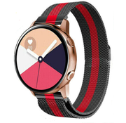 Strap-it® Samsung Galaxy Watch Active Milanese band (zwart/rood)