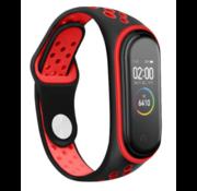 Strap-it® Xiaomi Mi band 5 sport bandje (zwart/rood)
