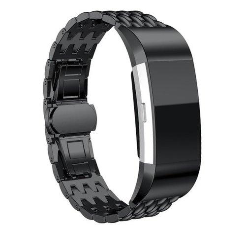 Strap-it® Strap-it® Fitbit Charge 3 stalen draak band (zwart)