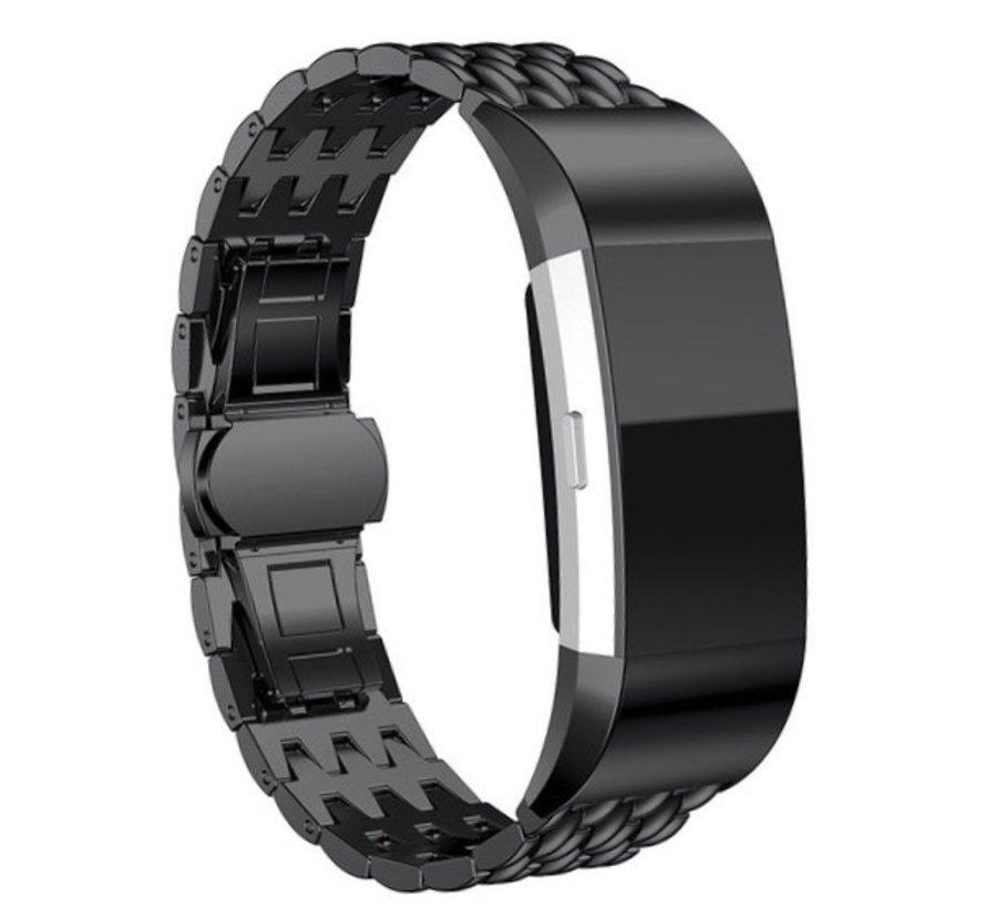 Strap-it® Fitbit Charge 3 stalen draak band (zwart)
