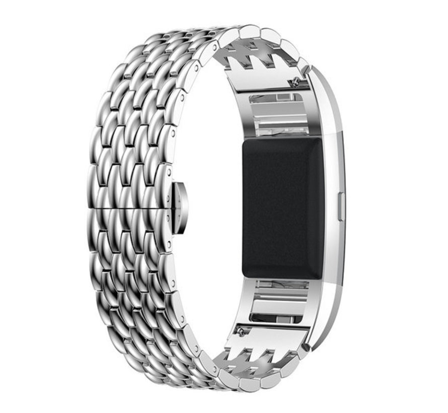Strap-it® Fitbit Charge 3 stalen draak band (zilver)