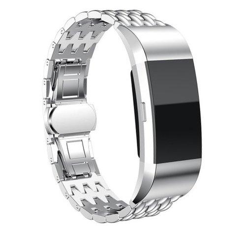Strap-it® Strap-it® Fitbit Charge 3 stalen draak band (zilver)