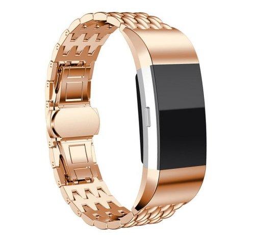 Strap-it® Strap-it® Fitbit Charge 3 stalen draak band (rosé goud)