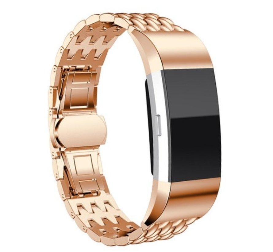 Strap-it® Fitbit Charge 3 stalen draak band (rosé goud)